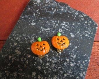 Jack-O-Lantern Earrings, Halloween Earrings, Clip Earrings, free usa domestic shipping