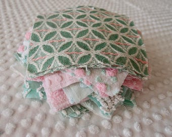 Vintage Chenille Fabric Quilt Squares - 30 - 6 inch squares, green, pink & white, - 500-149