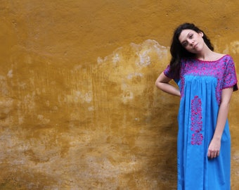 Turquoise blue and fuchsia embroidery Mexican Wedding Dress