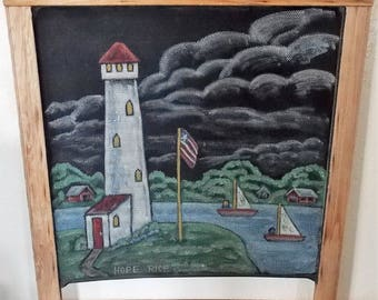 Original Lighthouse Scene On Old Window Screen, Hand Painted, Acrylic Painting, Americana Decor, Screen Art, Country Scene, Upcycled Screen