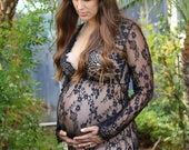 Limited Sale! Full Length Sheer Lace Maternity Gown. You choose Size. Lace maternity gown. Maternity photo shoot dress. Ready to ship.