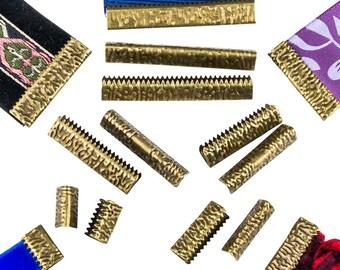 No Loop Ribbon Clamp Crimp Ends - Assorted Sizes  - Antique Bronze - Artisan Series
