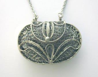 Silver Filigree Vintage Purse Necklace Chantelaine