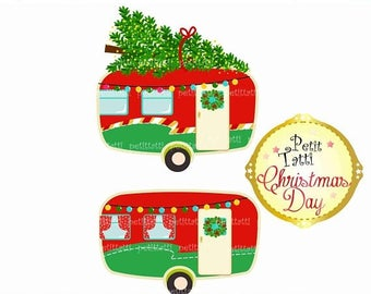 ON SALE Vintage Christmas Caravan Clip Art Car Retro