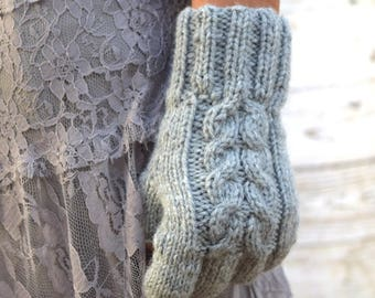 Knit fingerless gloves light gray womens gloves gift for her womans gift Mothers Day birthday Chrismas warm gloves womens accessories