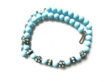 Vintage Rhinestone Ball Bead Necklace Turquoise Rhinestone Filigree Wow Choker French Assemblage Bridal Supply