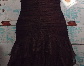NEW Vtg 80s Jessica McClintock Dark Brown Lace Prom Dress Strapless 6 S Small NWT New with tags