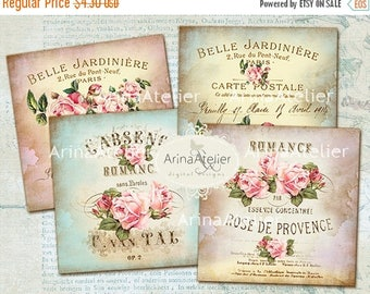 SALE - 30%OFF - Sweet Shabby Flowers coasters - 4 x 4 inch - set of 4 cards - Digital Download Sheet - Digital tags