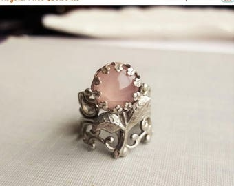 VACATION SALE- Rose Quartz Flower Filigree Ring in Antique Silver or Antique Brass. Statement Ring