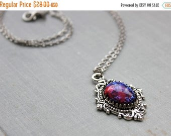 VACATION SALE- Dragons Breath Mexican Fire Opal Necklace. Silver or Bronze