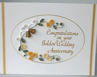 50th anniversary card, golden wedding, quilled, paper quilling