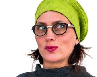 Apple Green Felt Hat - Felted Tam bonnet for woman - Golden embroidery Millinery bonnet made in Paris - Outstanding OOAK headdress