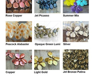 Pip Czech Glass Beads 30 Pcs Ur Pick Jet Bronze Patina Picasso Copper Silver Peacock Alabaster Green Lumi Mix Gold Purple Yellow Red Blue