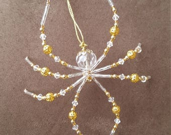 Gold Filigree Glass Beaded Christmas Spider Ornament German Legend of Tinsel