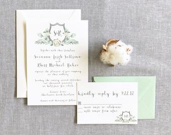 Watercolor Wedding Invitation, Custom Crest, Watercolor Crest, Flowers, Floral, Charleston Invite, Stationery, Wedding Invite, Custom Invite