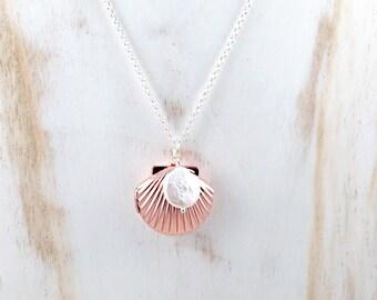 Sea Shell Locket Necklace, Seashell Locket Pendant, Rose Gold Locket, Ocean Jewelry, Beach Jewelry, Nautical Jewelry