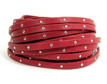25% Off 5mm Flat Arizona Studded Leather - Red - Choose Your Length