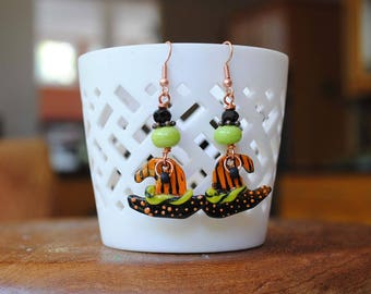 Witch Hat Earrings, Halloween Earrings, Striped Hat Earrings, Spooky Earrings, Artisan Enamel Earrings, Orange Black Earrings, Whimsical