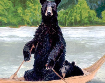 Bears in Boat Archival Giclée Print - Abacus Corvus