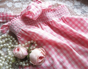 Smocked Pink Gingham Half Apron with Cross Stitch, Hostess Apron, Cottage Charm, by mailordervintage on etsy