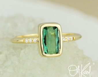 Emerald Green Tourmaline Ring - Emerald Cut Tourmaline - Bezel Set Ring