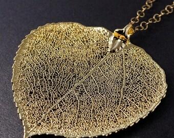 ON SALE Gold Aspen Leaf Necklace - Large Aspen Leaf - Statement Necklace, Autumn Jewelry