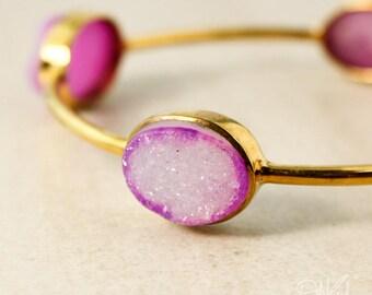 Fuschia Pink Agate Druzy Bangle - Stacking Bangle - Geode Bracelet