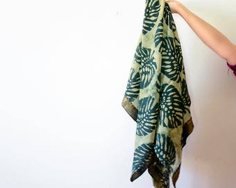 SALE - Scarf, tropical leaf, lapel, Green blockprint scarf, women fashion Accessories hand dyed Scarf handmade scarves, Gift for her, Ichcha