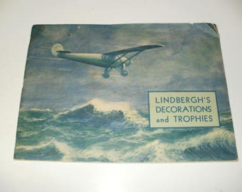 Vintage 1935 Lindberghs Decorations and Trophies softcover Book- Cool Collectible, Historical