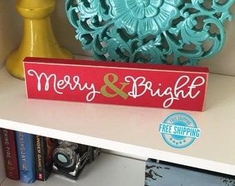 Merry & Bright Sign- Christmas Decor, Christmas Blocks, Christmas Sign, Wood Christmas Sign, Holiday Decor, Holiday Sign Christmas Wood Sign