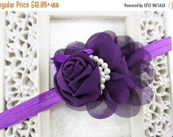 Purple Flower Headband, Eggplant Chiffon Rose Flower w/ Pearls Purple Headband or Hair Clip, The Audrey, Baby Toddler Child Girls Headband
