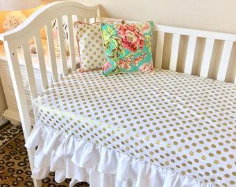 Baby Bedding. Baby Girl Bedding. Gold and White Baby Girl Nursery. Metallic Gold Baby Bedding. Gold Polka Dot Baby and Toddler Crib Sets.