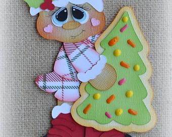 Gingerbread Cookie Tree Christmas Premade Scrapbooking Embellishment Paper Piecing