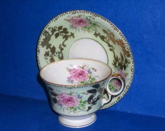 Royal Sealy Japanese Porcelain Hand Painted  Cup and Saucer  with Gold Gilt