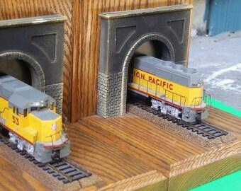 Railroad Wooden Train Bookends Union Pacific
