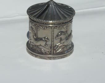 Silver Plated Circus Horses Carousel Bank