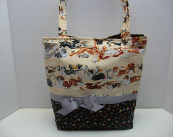 Racing Dogs Covered Tote Bag with Five Pockets Inside!