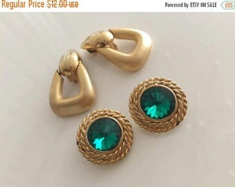 40% OFF Christmas in July Lot of Two Vintage Pair of Clip On Earrings in Gold Tones -- Hollywood Regency
