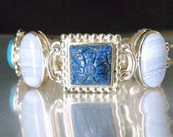 Vintage Sterling Silver 925 Carved Lapis Blue Lace Agate Mother of Pearl Turquoise Mother of Pearl Etruscan Chunky Bracelet