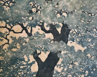 Woodblock Print Tree No. 22 - OOAK Moku Hanga Original Hand Pulled Fine Art Block Print, Mounted and Ready to Frame