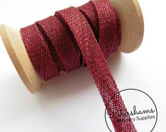 1cm Sinamay Bias Binding Tape Strip (1.6m/1.7yards) for Millinery & Hat Making - Burgundy