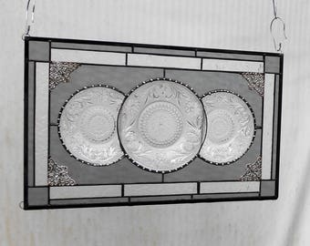 Stained Glass Transom Window, Vintage Tiara Sandwich Glass Plate Panel, Antique Stained Glass Window Valance, Stained Glass Transom Window