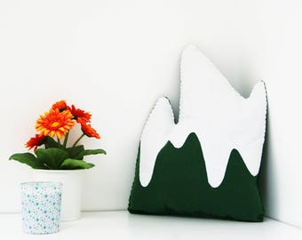 Green mountain cushion, nursery room decor, kids bedroom decor, Scandinavian theme, nursery,  plush mountain toy, snowy mountain pillow,