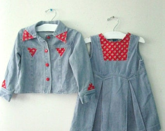 Spring SALE Vintage Children's 70s denim dress set / jean jacket and romper dress set