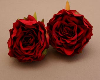 2 Small RED Ruffle Peonies  - Artificial Flower Heads, Silk Flowers