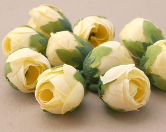10 Pale Yellow Tea Roses - Artificial Flowers, Silk Roses, Small Flowers