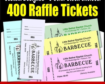 400 Card Stock Custom Raffle Tickets - Preforated Stub, Numbered on Two Ends - No Booking