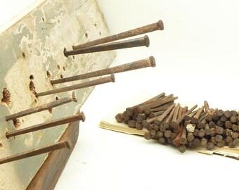 Lot 118 Rusty Vintage Square Head Nails Industrial Primitive Repurpose