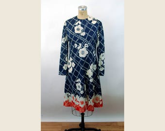 1960s dress nylon mod flowers red white blue pleated dress Flower Power Joan Leslie by Kasper  Size M