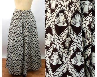 1970s maxi skirt frog toad novelty print cotton brown white Julia Montgomery Frog Tog Size M/L